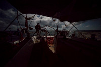 Sailing the Pacific Ocean at night on the Aranui yacht.