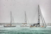 Three yachts in the harbour of Puerto Ayora of the Galapagos Islands