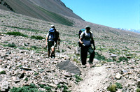Hiking the last few miles to base camp of Aconcagua Argentina