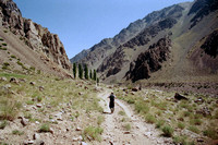 Hiking the trail to base camp of Aconcagua in Argentina