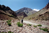 Hiking toward base camp of Aconcagua in Argentina