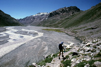Joe Pillar walking the river valley leading to Aconcagua Argentina