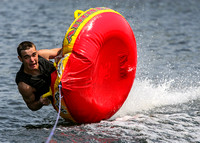 Flipping out on a tube being pulled by a boat